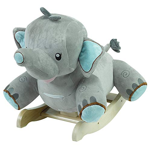 (Stomp The Elephant | Horse Plush Butterfly Baby Toy with Wooden Rocking Chiar Horse/Kid Rocking Toy/Baby Rocking Horse/Rocker/Animal Ride)
