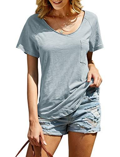 imesrun Womens Summer V Neck Soft Cotton Tops Short Sleeve Loose Casual T Shirt Blouses Blue Medium