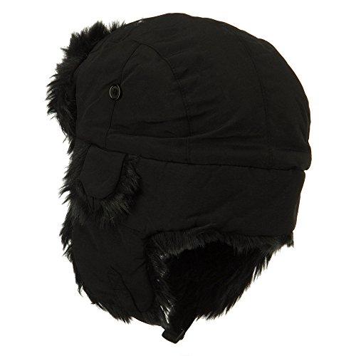Faux Fur Aviator Trooper Hat - Black S-M