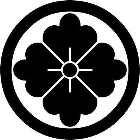 家紋シール 「丸に花角」6枚入 男性紋・女性紋・子供サイズ・黒地用・白地用 貼付け家紋 着物用 KOM184