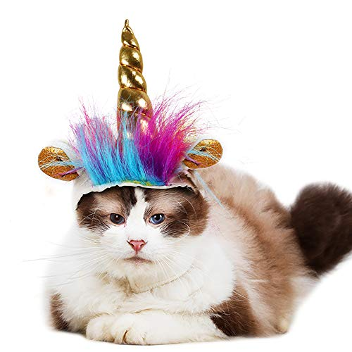 B Bascolor Unicorn Costume Hat for Dogs Cats Cosplay Costumes for Pets Christmas -