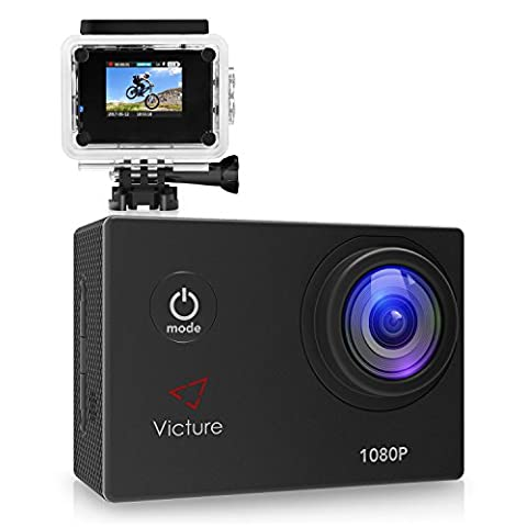 Victure Sports Action Camera 1080P 12MP Waterproof Helmet Camera Underwater Cam with 170 Wide Angle and Rechargeable - Memory Lithium Ion Camcorder Battery