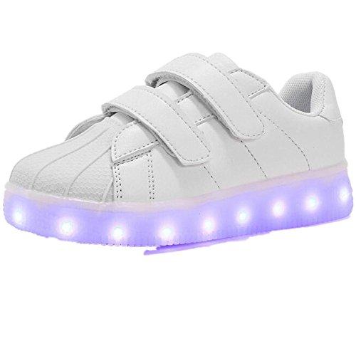Cheap Dance Costumes For Sale Uk (Kids Girls Boys Trainers Flashing LED Luminous Lights USB Charger Velcro Sneaker(White 36/5 B(M) US Women / 4 D(M) US Men))
