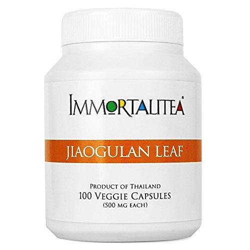 Jiaogulan (Gynostemma) Veggie Capsules - Crushed Whole Jiaogulan Leaf - AMPK Activator - Caffeine-Free Adaptogen - 100 Capsules - 500mg