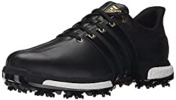 adidas Golf Men's Tour360 Boost Spiked Shoe,Black/Black/Gold Metallic,8.5 W US