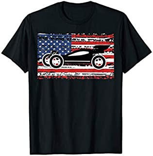 Distressed RC Car American Flag Racing Racers Patriotic Gift T-shirt | Size S - 5XL