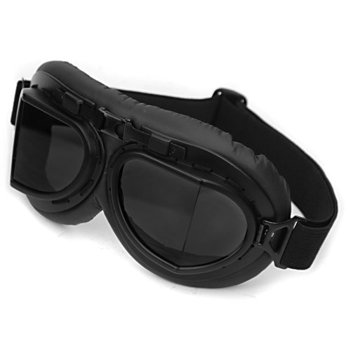 WWII RAF Vintage Aviator Pilot Style Motorcycle Café Racer Cruiser Touring Helmet Goggles Black