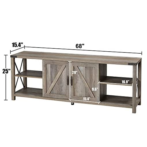 Farmhouse Living Room Furniture Amerlife 68″ TV Stand Wood Metal TV Console Industrial Entertainment Center Farmhouse with Storage Cabinets and Shelves for TVs Up to 78″, Rustic Gray Wash farmhouse tv stands