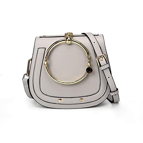 Yoome Women Punk Circular Ring Handle Handbags Small Round Purse Crossbody Bags For Girls (Grey) ()