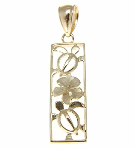 (14k Solid yellow gold Hawaiian cut out honu turtle plumeria flower vertical)