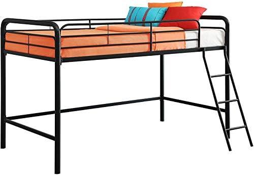dhp junior loft bed frame with ladder, multifunctional space-saving design, black DHP Junior Loft Bed Frame with Ladder, Multifunctional Space-Saving Design, Black 41CB ZCpYaL