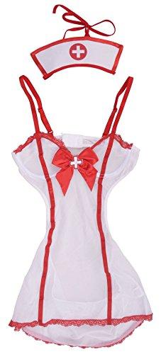 Simplicity Sexy Sheer Mini Naughty Nurse Nightie Lingerie (Sexy Nurse Costumes)