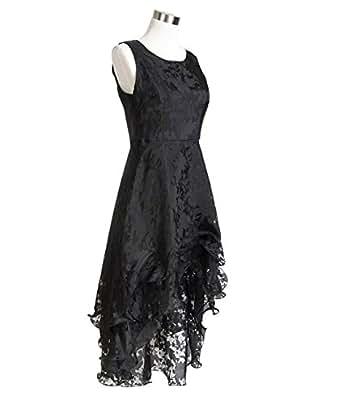 Red Dot Boutique 8821 - Plus Size Sleeveless Multi Layer High Low Bridal Wedding Dress (1X, Black)