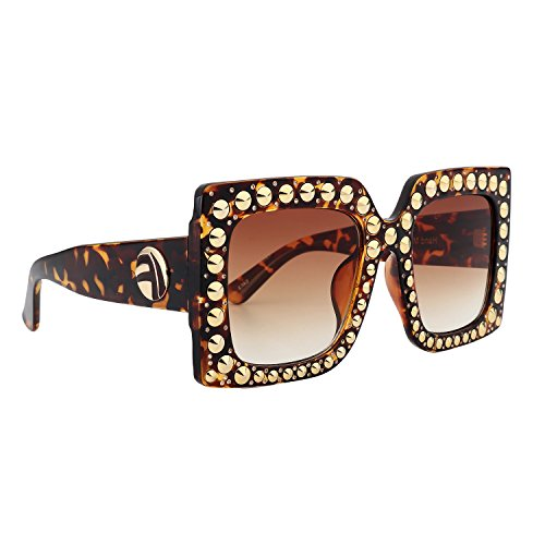 ROYAL GIRL Vintage Square Sunglasses Women Rivet Crystal-Trim Designer Shades (Leopard-Brown Gradient Lens, - Brand Sunglasses Shades