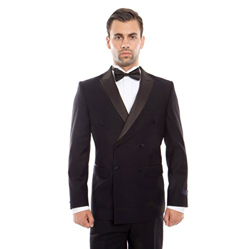 Tuxedo Double Breasted Mens (Men's Slim Fit Double Breasted Satin Peak Collar Tuxedo)