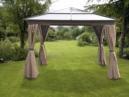 GAZEBO HOT TUB GARDEN ALL WEATHER 3X3 MTR ALUMINIMUM COMPLETE WITH FLY NETS