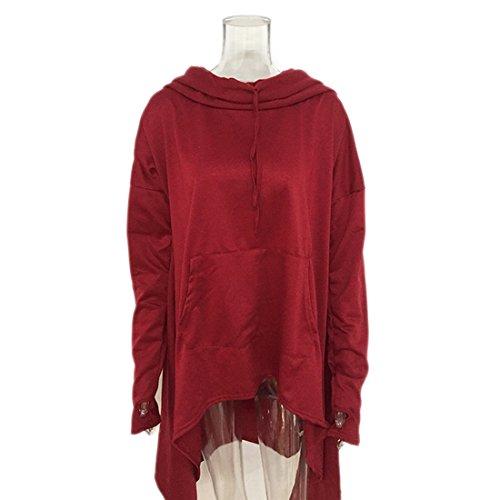 Delle Sorteggio Tasche Rosso Asimmetrico Donne Vino Cavo Solido Hoodie Hi Colore Pullover Di Orlo Cappotto Moda Lungo low qaIv1x