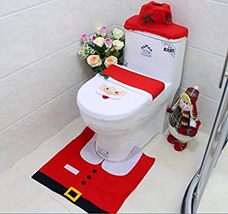 Toilet Seat Covers Amazon.Oiart 3d Nose Santa Toilet Seat Cover Set Red Christmas Decorations Bathroom Set Of 3