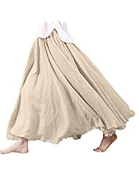 Lesimsam Women Elastic Waist Flowing Bohemian Cotton Linen Retro Long Maxi Skirt Vintage Dress