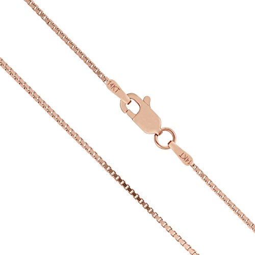 Honolulu Jewelry Company 14K Solid Rose Gold 1mm Box Chain Necklace - 16 Inches