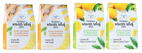 Sweetie Pie Organics Ginger candy drops & Lemon drops Candy Drops Morning Sickness, Nausea Relief, Motion Sickness, Chemo drops with VITB6. Ginger and Lemon Variety pack 4pack total 12 OZ ()