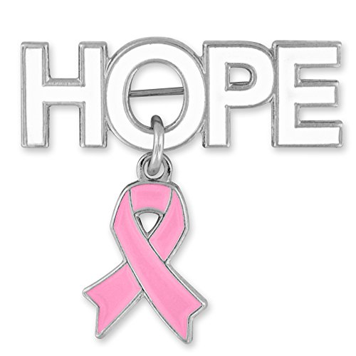 hot PinMart Hope with Pink Breast Cancer Awareness Ribbon Charm Enamel Brooch Pin free shipping