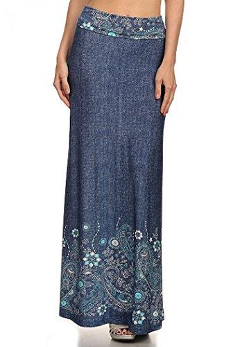 ColorMC Women's Plus Size Women's Floral Circle Print Long Maxi Knit Skirt XL DenimPrint
