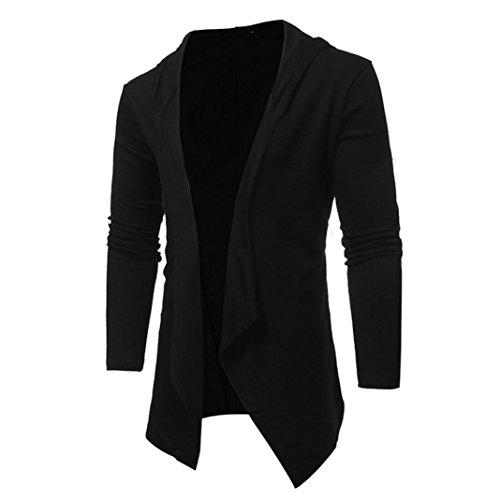 kaifongfu Men's Coat, Slim Fit Long Sleeve Solid Hooded Blouse Tops Outwear (L, Black)