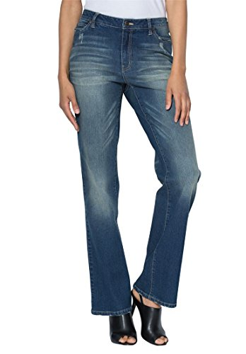 Women's Plus Size Petite Bootcut Jeans With Invisible Stretch Waistband Dark