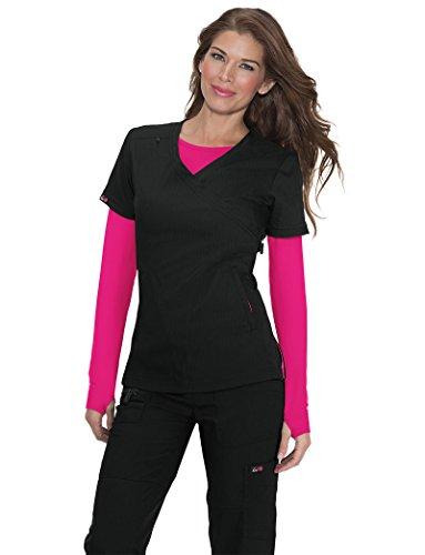Koi Lite Women's Philosophy Mock Wrap Side Zipper Solid Scrub Top X-Small Black
