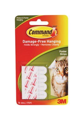Command Poster Hanging Strips, Small, White, 12-Strip, 6-Pack (72 Pairs Total)