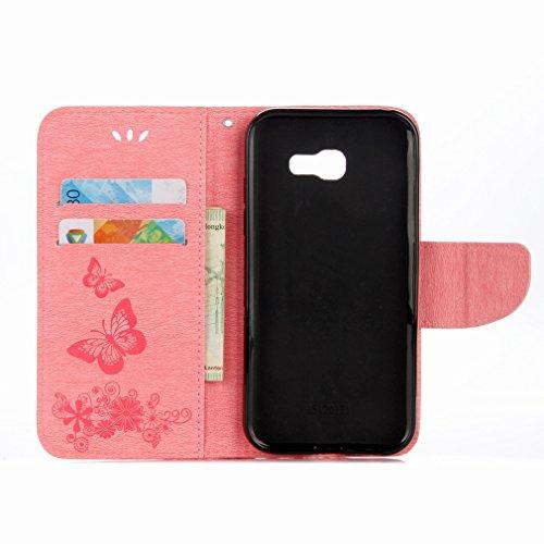 Yiizy Samsung Galaxy A7 (2017) Custodia Cover, Farfalla Fiore Design Sottile Flip Portafoglio PU Pelle Cuoio Copertura Shell Case Slot Schede Cavalletto Stile Libro Bumper Protettivo Borsa (Rosa)