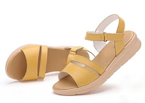 Waichuan Hang mit dicker Kruste Muffin Sandalen Frauen Schuhe Strand Wort weibliche Sandalen Sommerschuhe yellow
