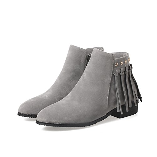 AdeeSu Womens Square Heels Fringed Ankle-High Suede Boots SXC02475
