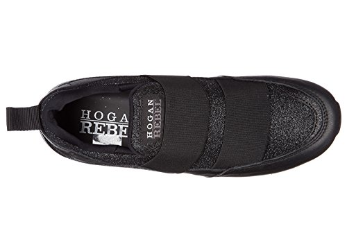 Slip On Hogan In Pelle Hogan Rebel Donna Nero R261