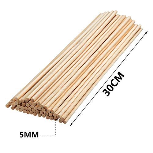 Varillas de bambú para manualidades, 12 pulgadas, para proyectos de manualidades, palos de madera largos para bricolaje, paquete de 55 5mm / 0.20inch ...