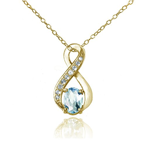 Ice Gems Yellow Gold Flashed Sterling Silver Blue Topaz Infinity Drop Necklace