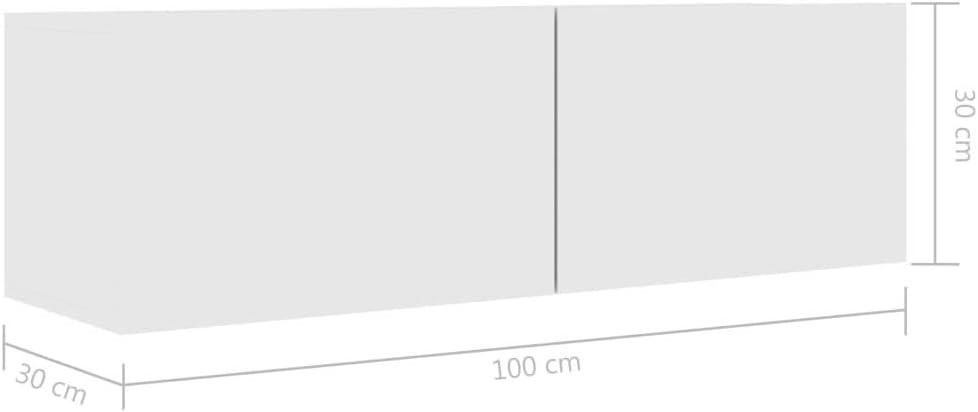 Festnight Mueble para TV de Aglomerado Mesa Flotante para TV Mueble para TV de Pared Blanco Brillante 100x30x30 cm