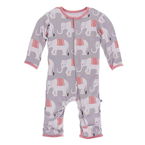 (Kickee Pants Little Girls Print Coverall with Snaps - Feather Indian Elephant, 12-18 Months)