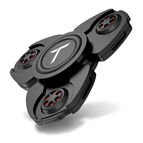 Trianium Fidget Spinner Pro Metal Series [Black] Phone Stress Reducer Figit toy for Kid Adult [Easy Flick + Spin] Prime Ball Bearing Finger Spinner Hands Focus Toys Perfect For Anxiety,Autism,Boredom (Pro Metal Series)