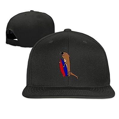 Sea Otter with Surfboard Plain Adjustable Snapback Hats Men's Women's Baseball Caps