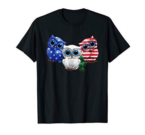 (owl blue white red flag ladies t shirt )