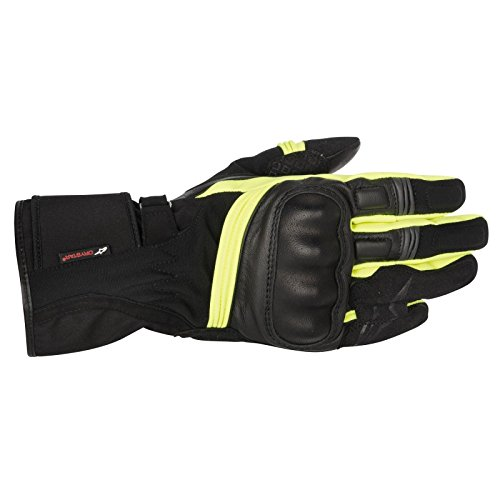 NEW ALPINESTARS VALPARAISO DRYSTAR ADULT LEATHER GLOVES, BLACK/BLACK/YELLOW FLUO, XL
