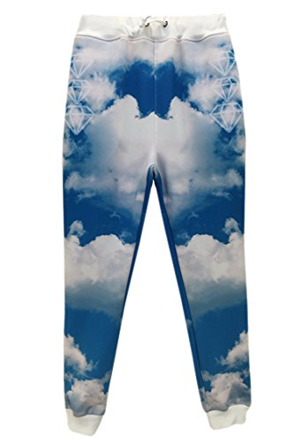 Pink Queen® Fashion 2015 Galaxy Sky Blue Sweatpants gmy Joggers