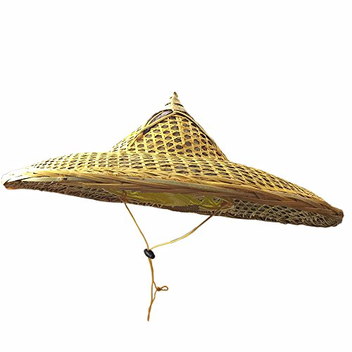 Sunnyhill(TM) Chinese Handmade Natural Bamboo Braid Hats Conical Coolie Hat Fishing Hat (Clear Oil)