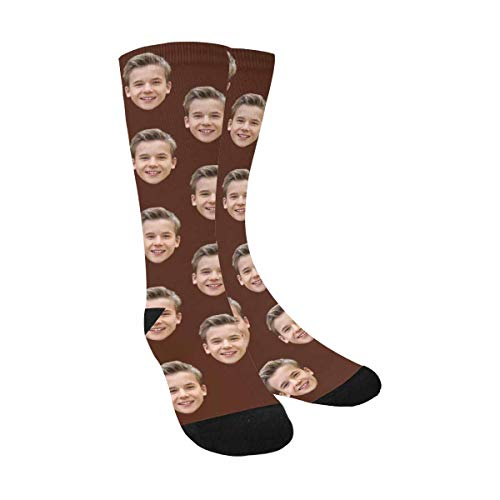 Custom Print Your Photo Pet Face Socks, Personalized Coffee Crew Socks for Men Women