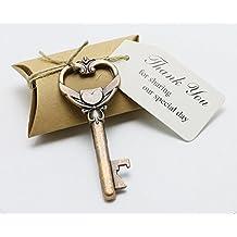 50pcs Wedding Favors Candy Box w/ Antique Skeleton Key Bottle Openers Escort Card Thank You Tag Pillow Box (Key Style #8) by DLWedding