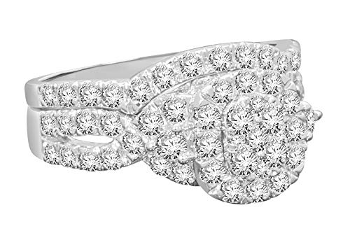 14k White Gold Real Diamond Engagement Ring Duo Shank (1.71cttw, F-G Color, I1 Clarity)