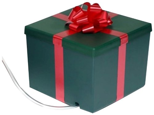 amazoncom ever green 120008 christmas tree watering system square green gift box with red bow home kitchen