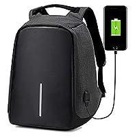 Sonolife Mochila Antirrobo Contraagua para Laptop con Acceso para Carga de Celular USB y Bolsillos Organizadores para Viaje o Negocios Unisex (Negro)